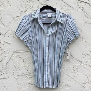 East5th Large Stripe Crinkle Button Shirt Blouse